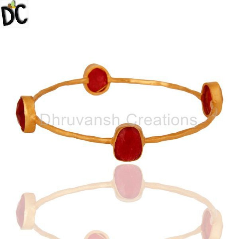 Solid Gold Bangle Bracelet Red Aventurine Gemstone jewelry Wholesaler