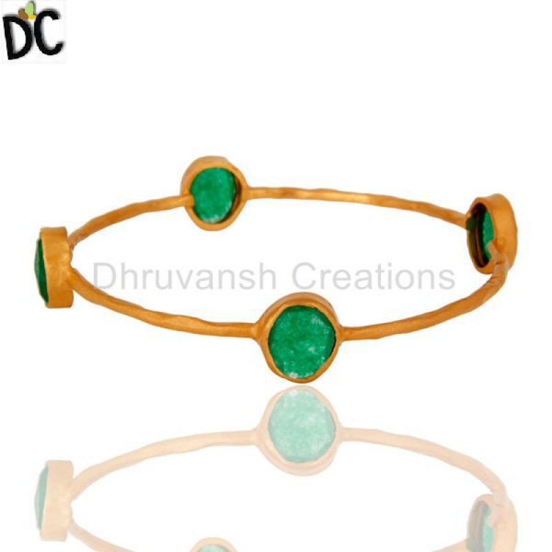 Solid Gold Green Aventurine Gemstone Hammered Bangle Bracelet