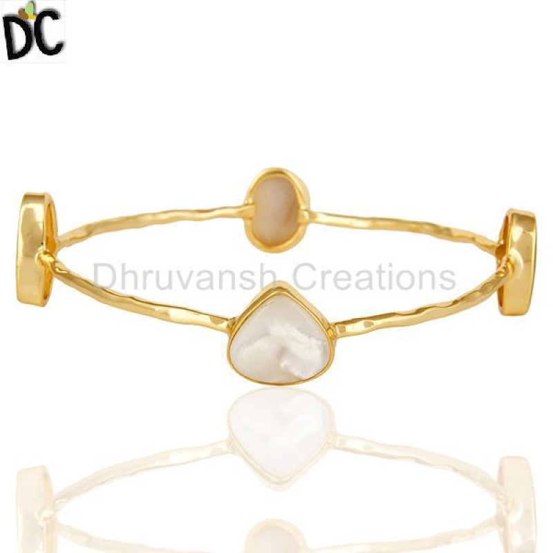 925 Silver Mother Of Pearl Sleek Bangle Bracelet jewelry Wholesaler