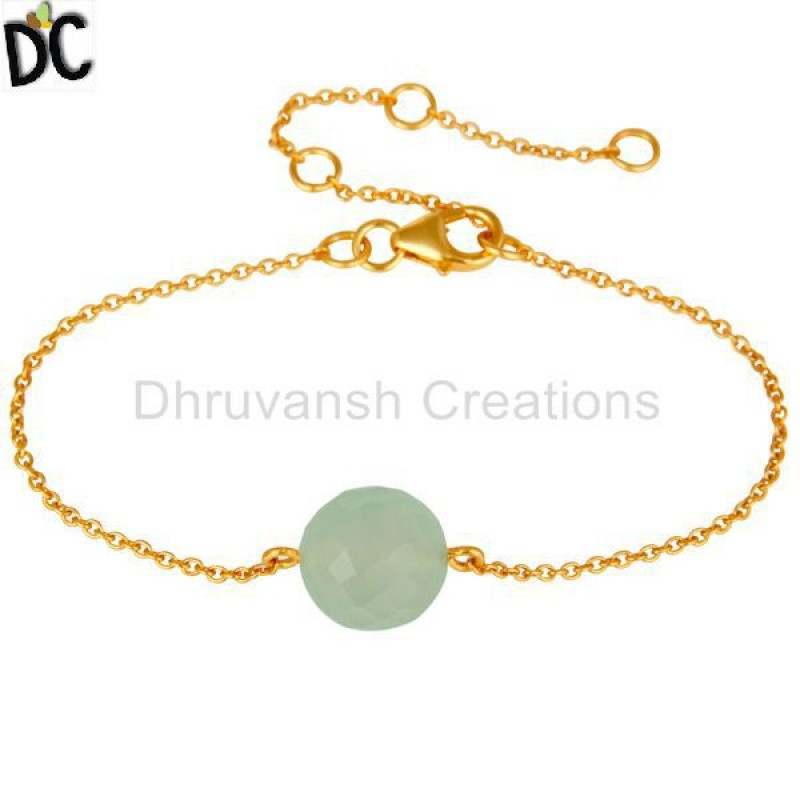 925 Silver Prehnite And Chalcedony Gemstone Bracelet Jewelry Supplier