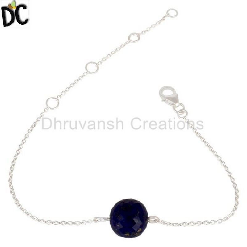 925 Silver Traditional Handmade Lapis Gemstone Chain Bracelet jewelry