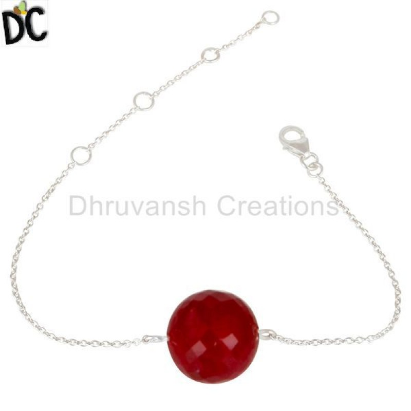 925 Sterling Silver Traditional Ruby Chain Bracelet Gemstone Jewelry
