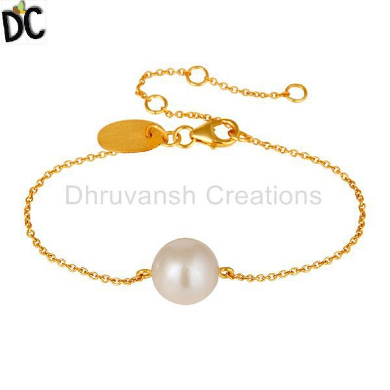 Gold Plated 925 Silver Chain Bracelet with Pearl modern jewelry