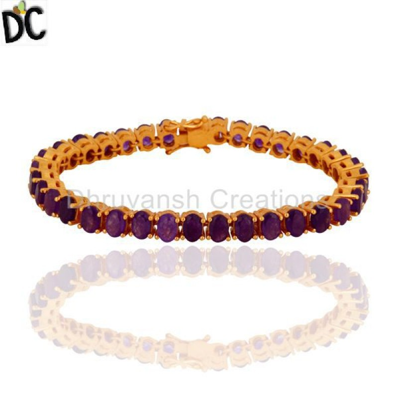Gold Plated 925 Silver Purple Chalcedony Gemstone Bracelet jewelry