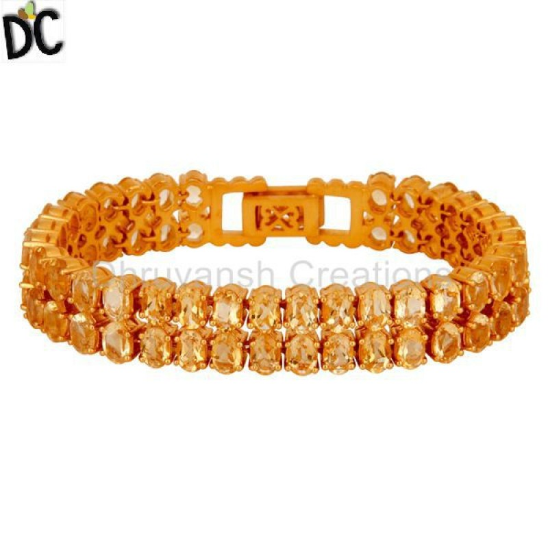 Gold Plated 925 Silver Citrine Gemstone Bracelet Jewelry Manufacturer