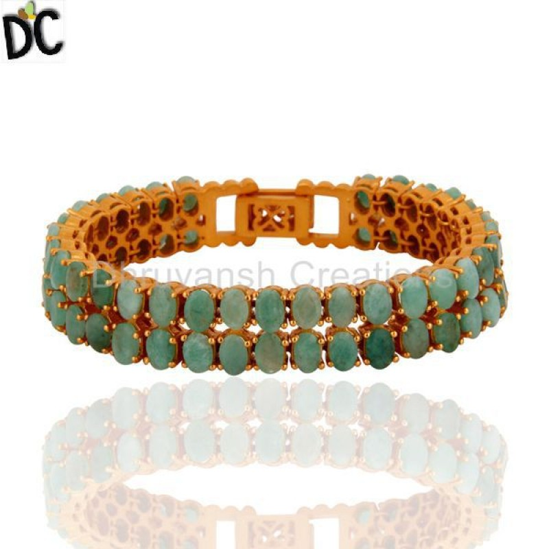Gold Plated Sterling Silver Natural Emerald Gemstone Bracelet jewelry