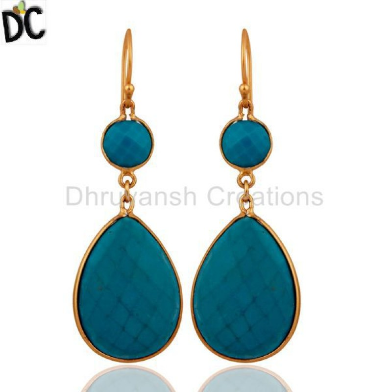 Gold Over 925 Silver Turquoise Gemstone Earring jewelry Manufacturer