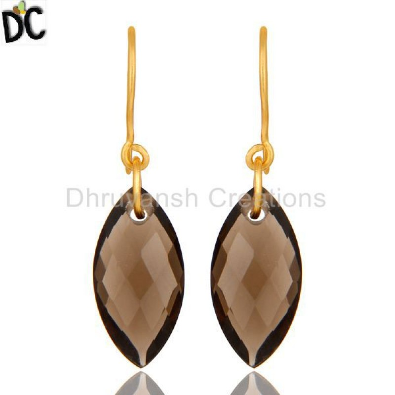 925 Silver Gold Plated Smoky Quartz Gemstone Earring Supplier