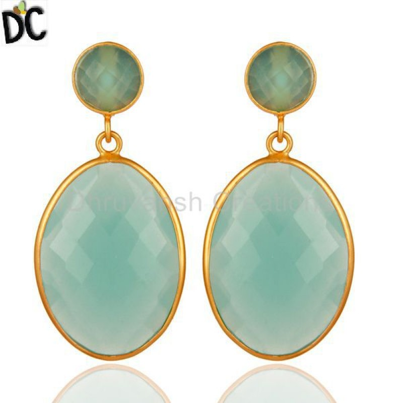 Green Glass Gemstone 925 Silver Dangle Earring jewelry Supplier