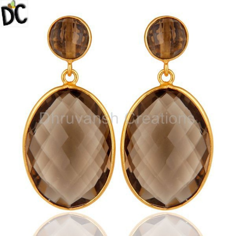 Smoky Quartz Gemstone Gold Plated 925 Silver Dangle Earring Jewelry