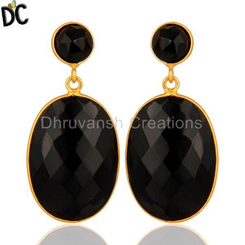 Black Onyx Gemstone 925 Silver Earring Designer jewelry Supplier