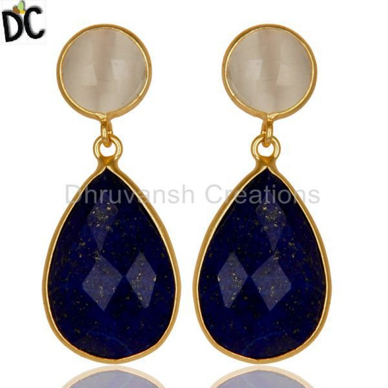 925 Silver Lapis Lazuli & Moonstone Gemstone Earrings handmade jewelry