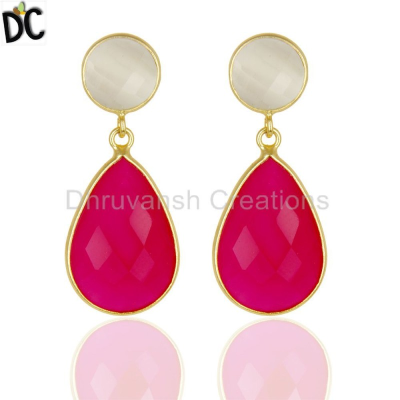 925 Silver Moonstone & Pink Chalcedony Gemstone Earring Wholesaler