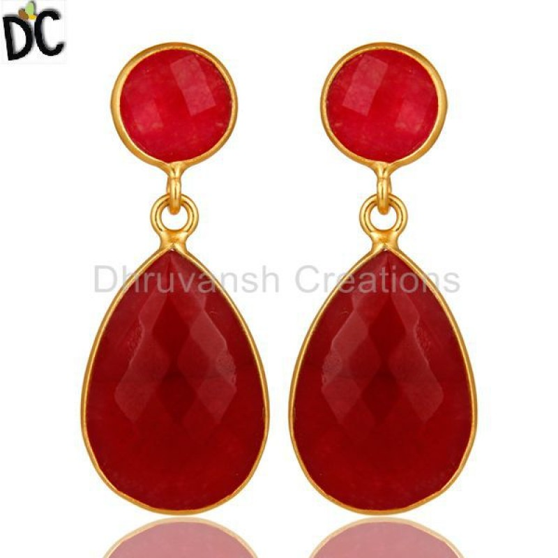 925 Silver Red Aventurine Gemstone Drop Earring personalized jewelry