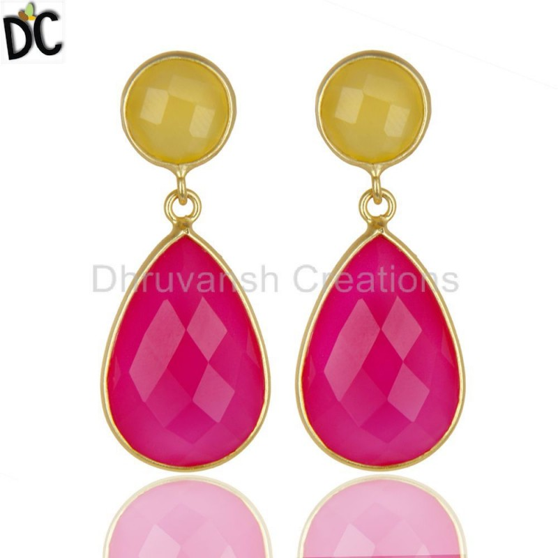 925 Sterling Silver Yellow Pink Chalcedony Earrings Handmade jewellery