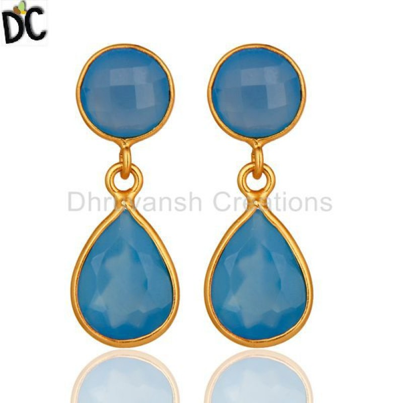 925 Silver Blue Chalcedony Set Drop Earring ethnic jewelry Wholesaler