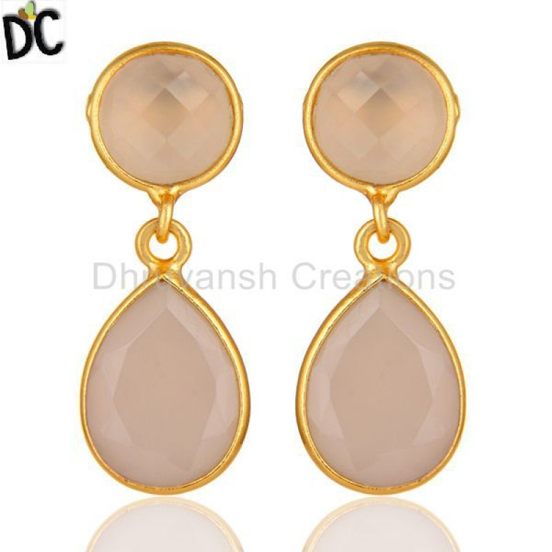 Silver Rose Chalcedony Gemstone Drop Earring jewelry Manufacturer
