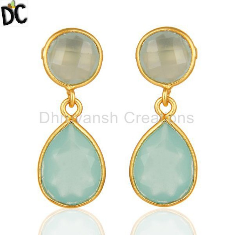 925 Silver Blue Chalcedony Bezel Set Drop Earring Jewelry Manufacturer