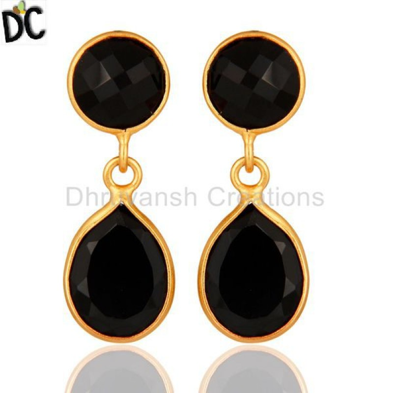 Black Onyx 925 Silver Gemstone Drop Earrings jewelry manufacturer