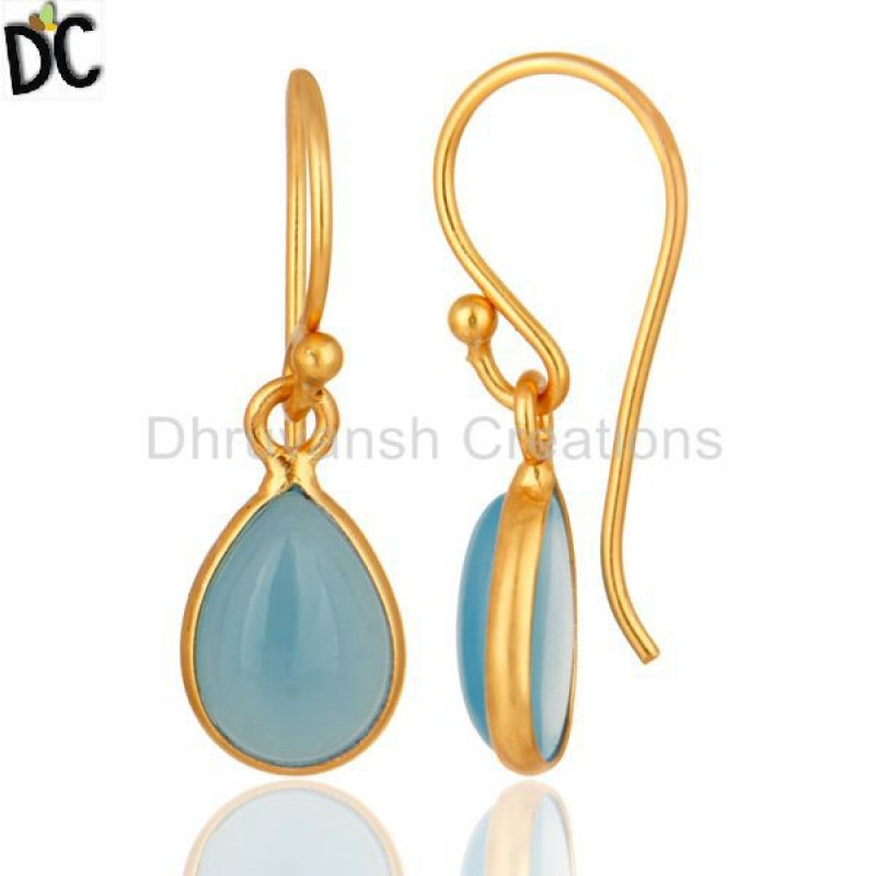 Gold Plated 925 Silver Chalcedony Gemstone Drop Earring Jewelry