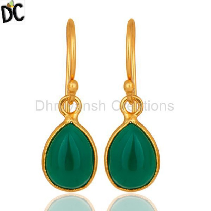 Green Onyx Handmade 925 Silver Drop Earring Gold Plated jewelry