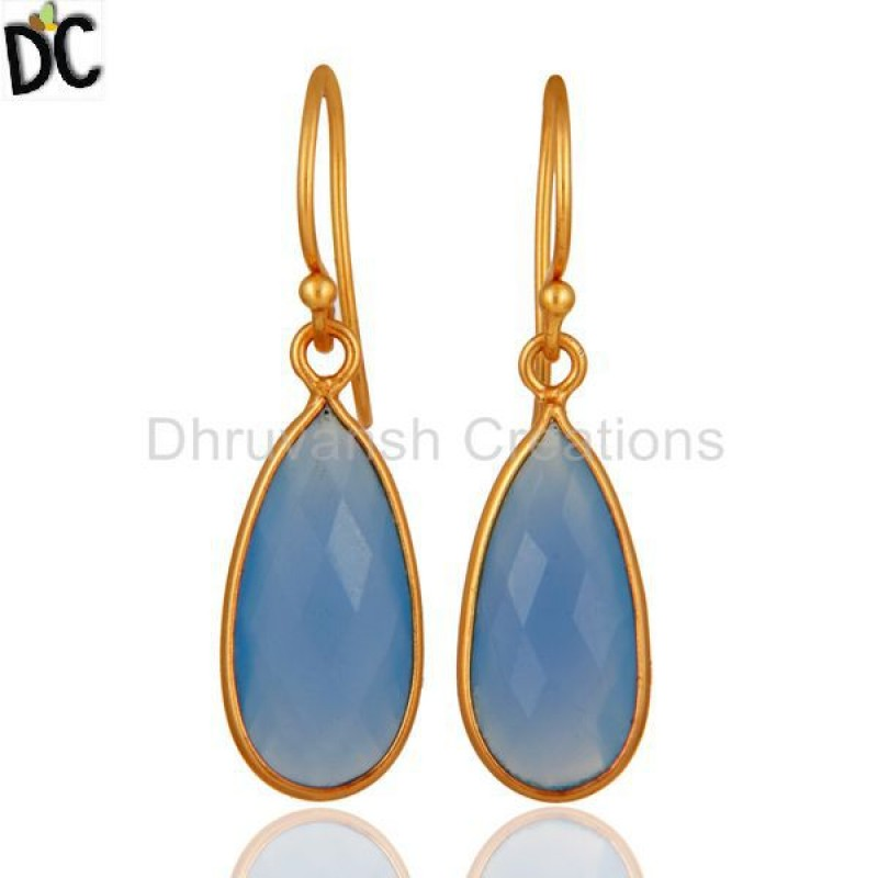 925 Silver Blue Chalcedony Gemstone Drop Earring jewelry Manufacturer