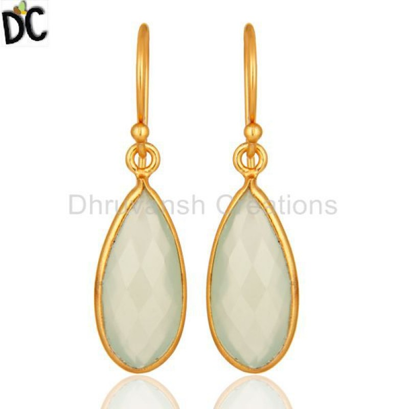 Green Chalcedony Gemstone Earring Gold Plated Over Silver girl jewelry