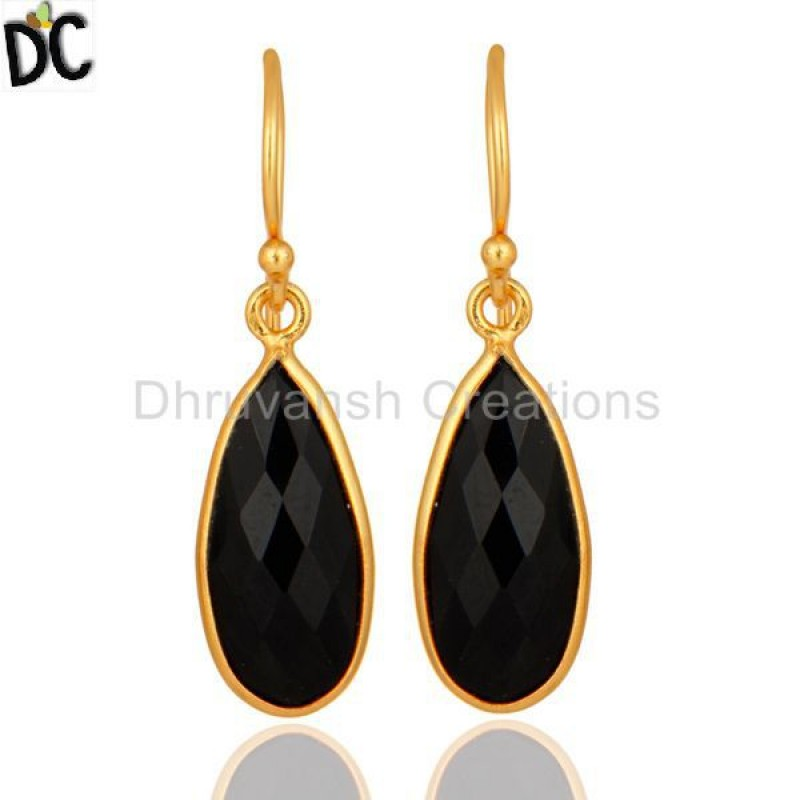 925 Silver Black Onyx Gold Plated Drop Earring handmade silver jewelry