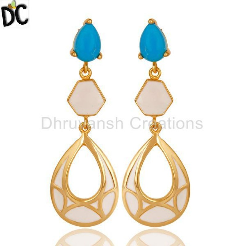 925 Silver Handmade Turquoise Dangle Earring jewelry Wholesale