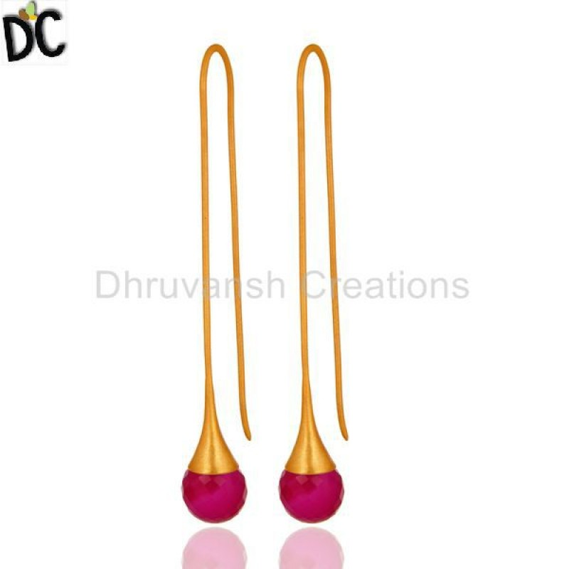 Gold Plated 925 Silver Chalcedony Gemstone Wedding Earring Jewelry