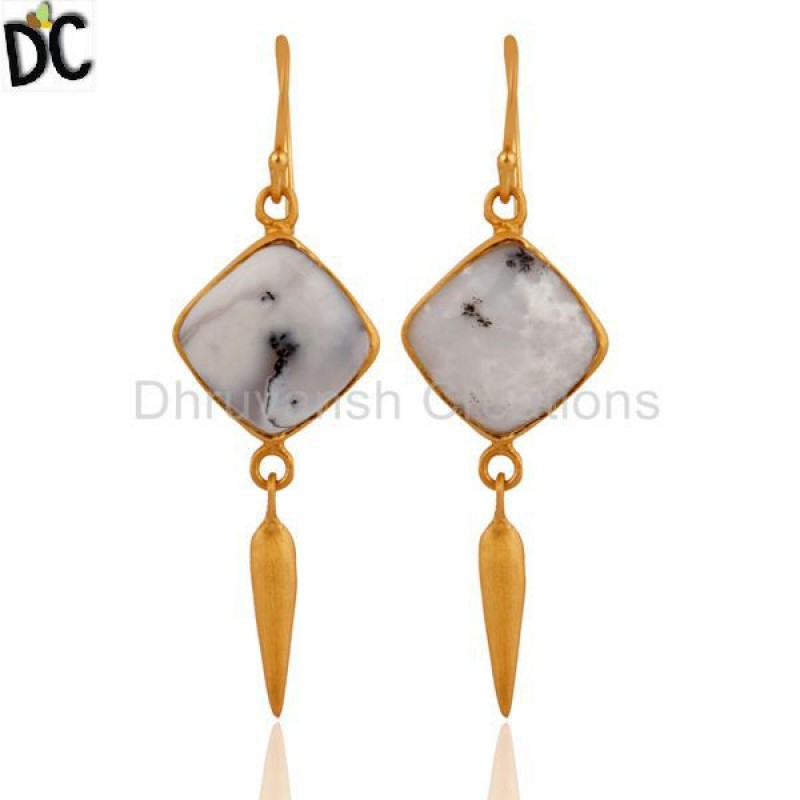 Gold Plated 925 Silver Opal Gemstone Dangle Earring Modern jewelry