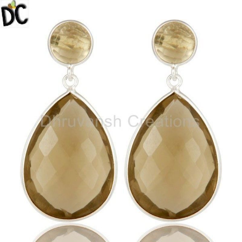 925 Silver Lemon Topaz Gemstone Bezel Set Drop Earring Manufacturer