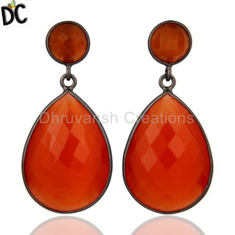 Sterling Silver Peach Moonstone Gemstone Bezel Set Drop Dangle Earring