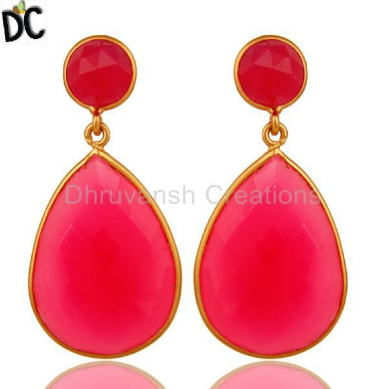 Pink Chalcedony Gemstone Earring Sterling Silver jewelry Manufacturer