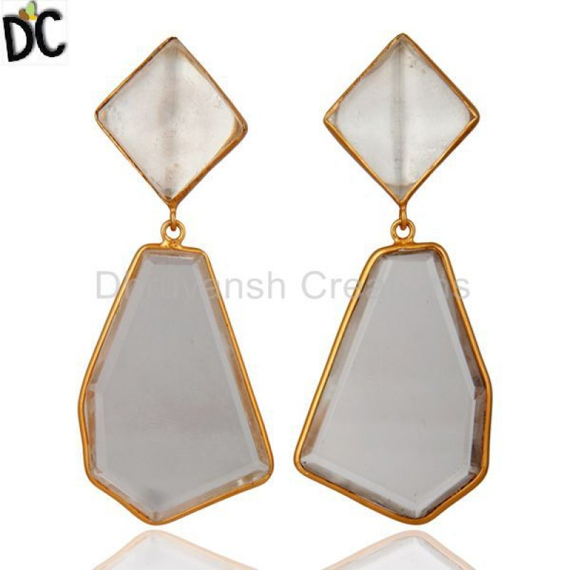 925 Silver Crystal Quartz Gemstone Dangle Earring jewellery Supplier