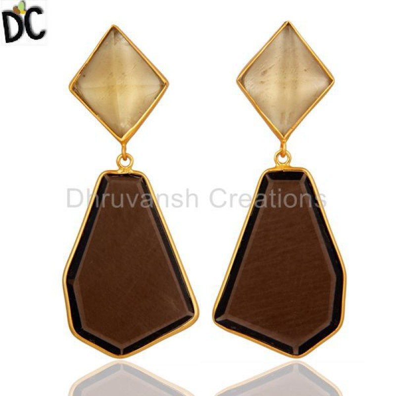 Lemon Topaz & Smoky Quartz Gemstone Silver Dangle Earring girl jewelry