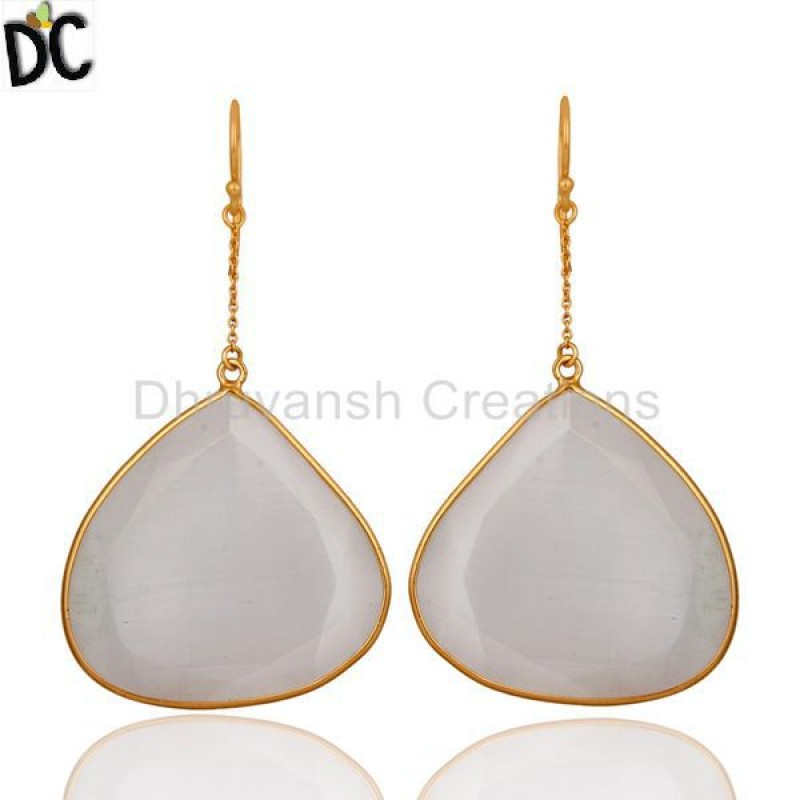 Yellow Gold Plated Sterling Silver White Moonstone Bezel Set Earring