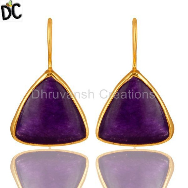 Gold Plated Sterling Silver Purple Chalcedony Gemstone Earring jewelry