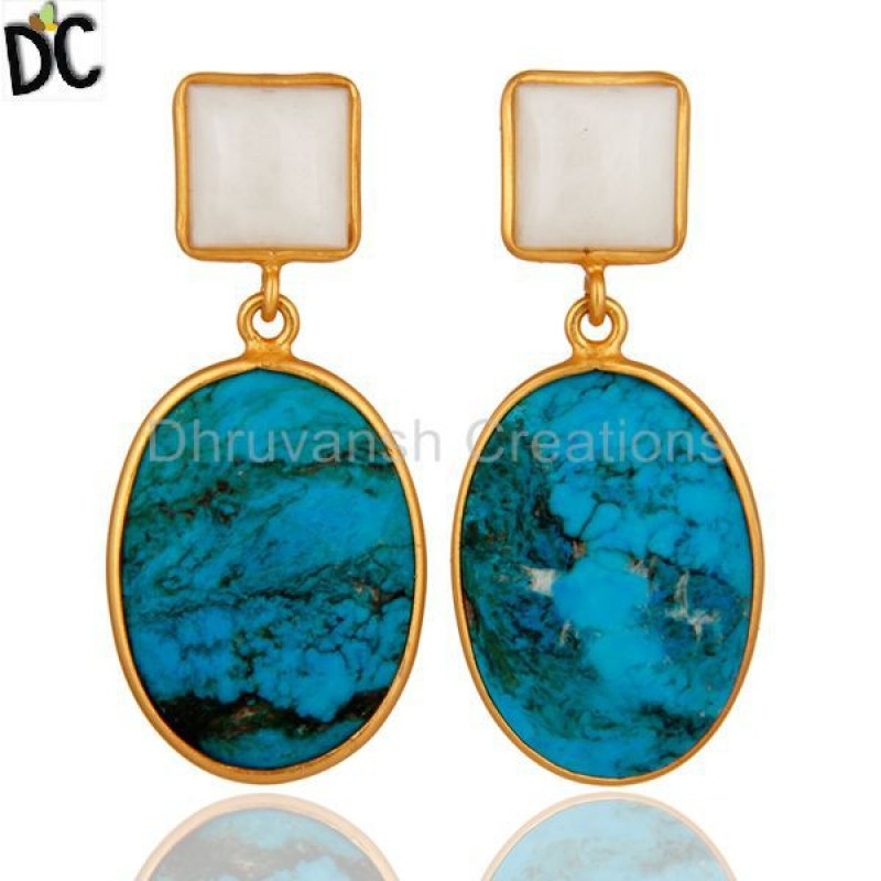 925 Silver Turquoise & Agate Gemstone Earring Jewelry Manufacturer