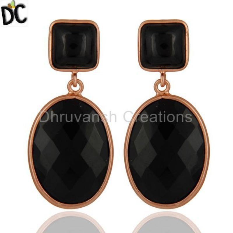 925 Silver Black Onyx Gemstone Drop Earrings unique silver jewellery