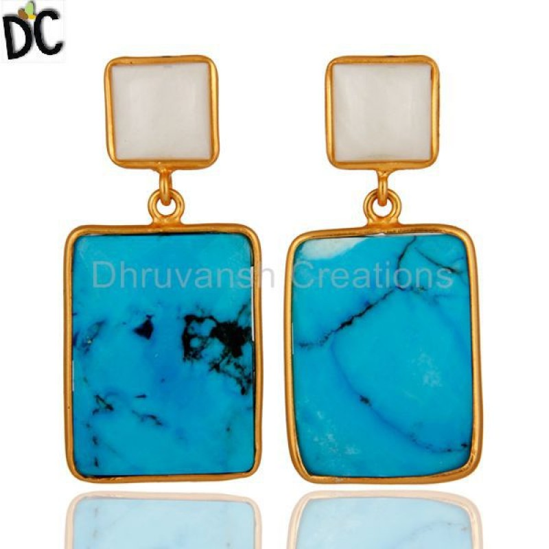 Agate & Turquoise Gemstone 925 Sterling Silver Earrings jewelry