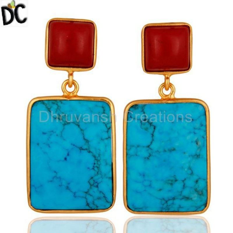 925 Silver Turquoise and Coral Gemstone Earrings jewelry Supplier