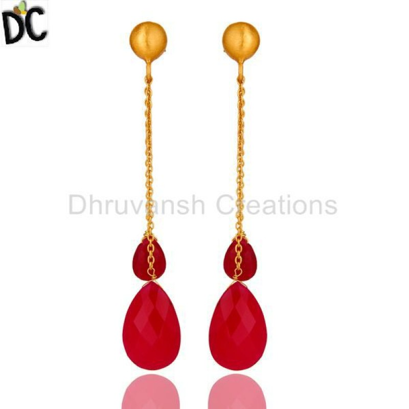 Pink Chalcedony Gemstone Gold Plated 925 Silver Chain Dangle Earring
