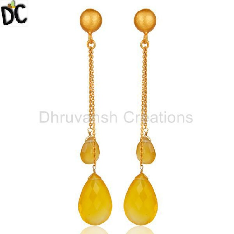 Chalcedony Gemstone Drop Chain Earring Supplier of Silver Jewelry