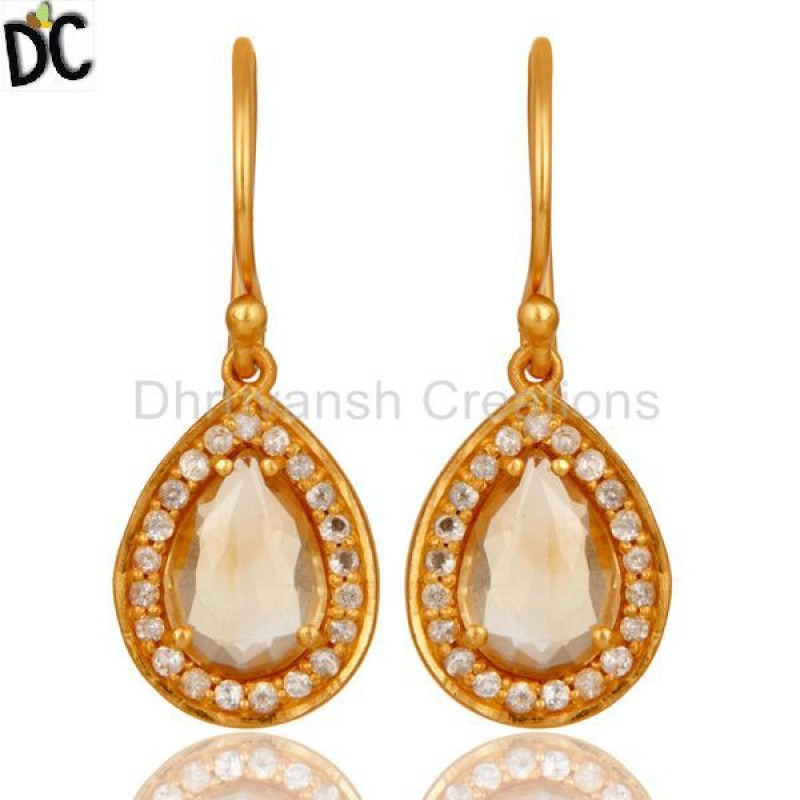 Citrine And White Topaz Gemstone Earring Silver jewelry Manufacturers