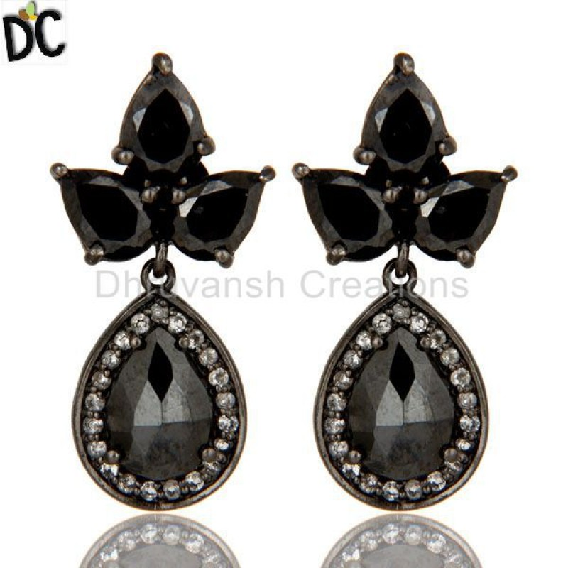 925 Silver Hematite And White Topaz Gemstone Dangle Earring Supplier