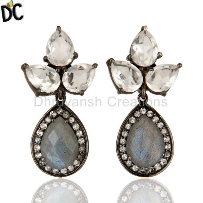 925 Silver Labradorite And Crystal Quartz Gemstone Earring Jewelry