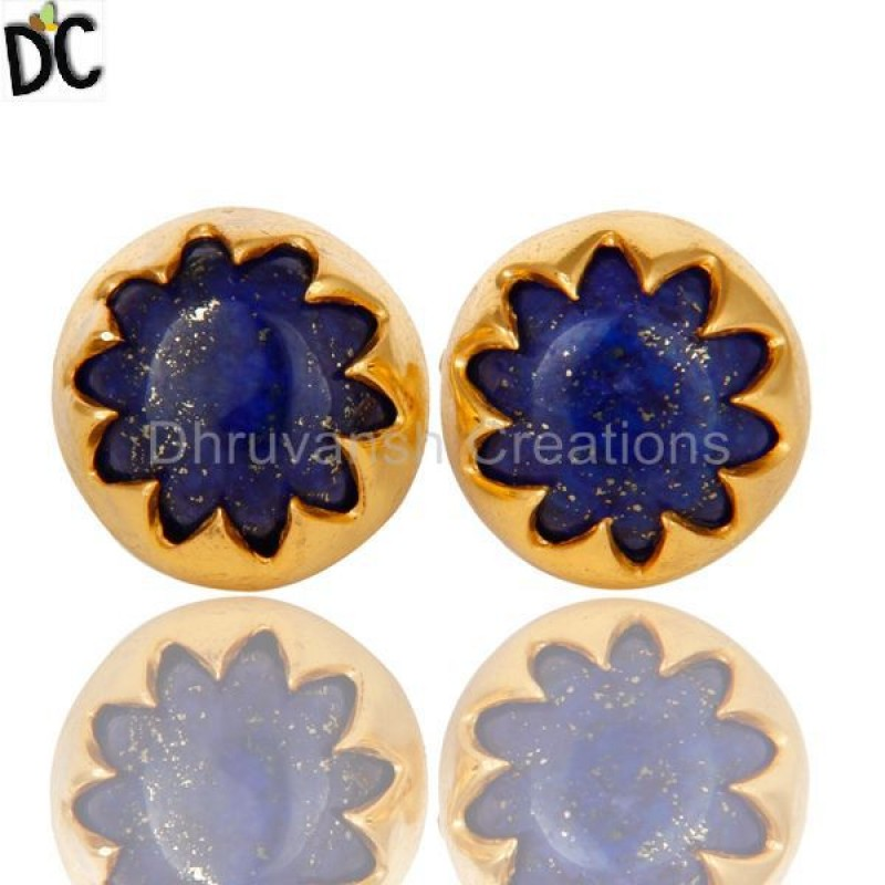 Sterling Silver Lapis Lazuli Gemstone Stud Earrings handmade jewellery