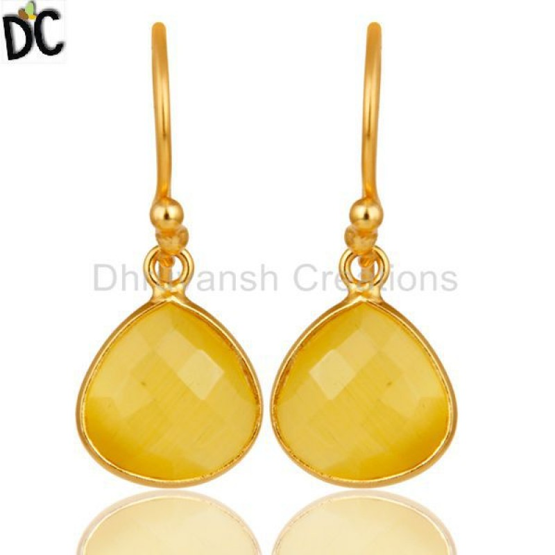 Gold Plated 925 Silver Moonstone Bezel Set Dangle Earring Jewelry