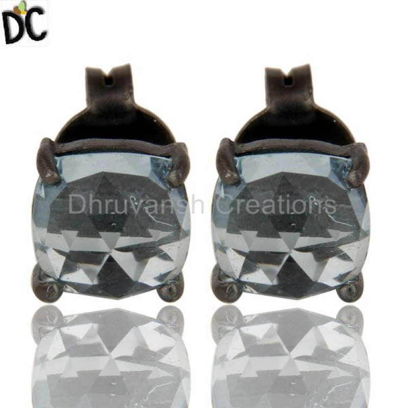 925 Silver Blue Topaz Gemstone Women Stud Earring wholesale jewelry